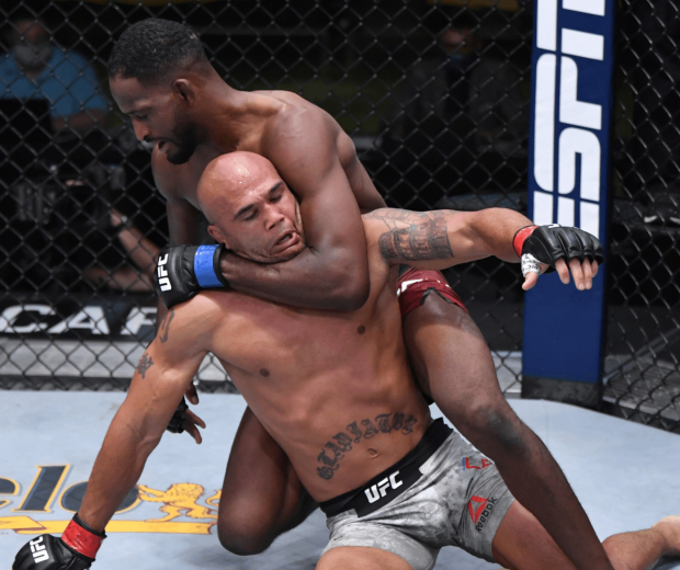 Neil Magny grapples with Robbie Lawler in their welterweight fight during the UFC Fight Night event at UFC APEX on August 29, 2020 in Las Vegas, Nevada. (Photo by Jeff Bottari/Zuffa LLC)