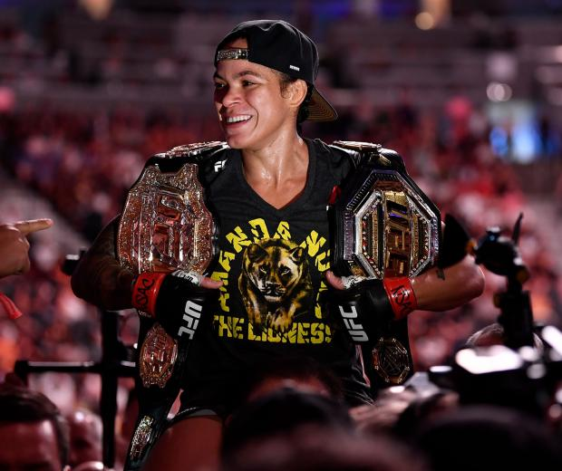 Amanda Nunes of Brazil celebrates after defeating Holly Holm in their UFC bantamweight championship fight during the UFC 239 event at T-Mobile Arena on July 7 2019 in Las Vegas, Nevada. (Photo by Jeff Bottari/Zuffa LLC)
