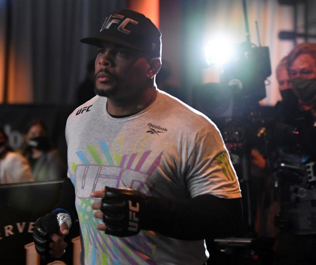 Daniel Cormier prepares to fight Stipe Miocic in their UFC heavyweight championship bout during the UFC 252 event at UFC APEX on August 15, 2020 in Las Vegas, Nevada. (Photo by Jeff Bottari/Zuffa LLC)