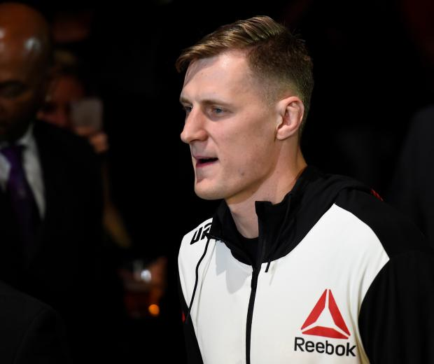 Alexander Volkov of Russia enters the arena prior to facing Stefan Struve of The Netherlands in their heavyweight bout during the UFC Fight Night event at the Rotterdam Ahoy on September 2, 2017 in Rotterdam, Netherlands. (Photo by Josh Hedges/Zuffa LLC)