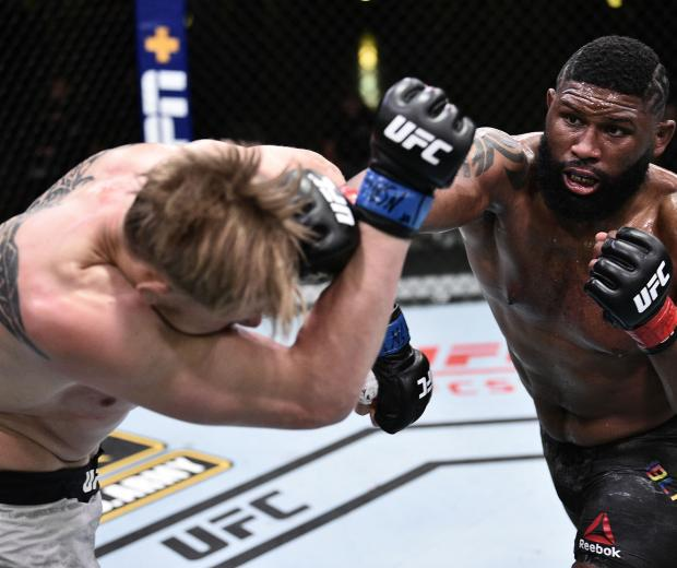 Curtis Blaydes punches Alexander Volkov of Russia in their heavyweight bout during the UFC Fight Night event at UFC APEX on June 20, 2020 in Las Vegas, Nevada. (Photo by Chris Unger/Zuffa LLC)