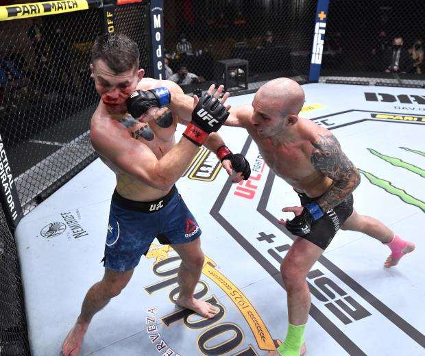 Sasha Palatnikov punches Louis Cosce in their welterweight bout during the UFC 255 event at UFC APEX on November 21, 2020 in Las Vegas, Nevada. (Photo by Jeff Bottari/Zuffa LLC)