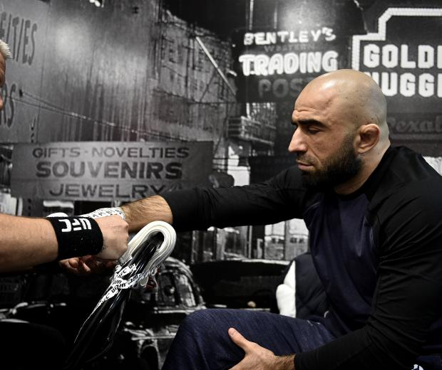 Omari Akhmedov of Russia gets his hands wrapped backstage during the UFC 245 event at T-Mobile Arena on December 14, 2019 in Las Vegas, Nevada. (Photo by Chris Unger/Zuffa LLC)