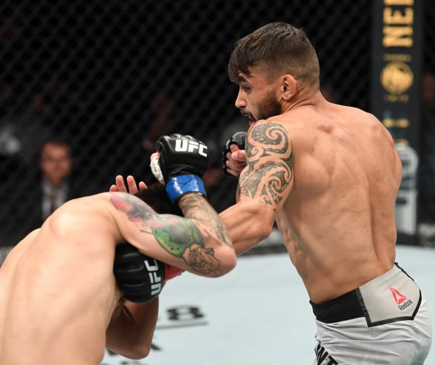Rogerio Bontorin of Brazil punches Ray Borg in their flyweight bout during the UFC Fight Night event at Santa Ana Star Center on February 15, 2020 in Rio Rancho, New Mexico. (Photo by Josh Hedges/Zuffa LLC)