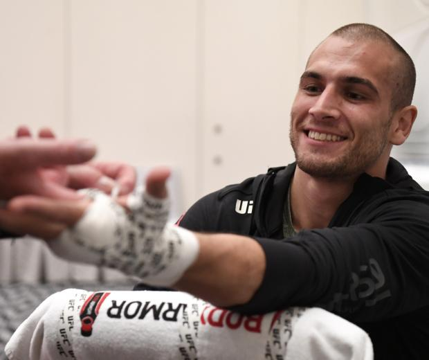 Tom Breese of England has his hands wrapped backstage during the UFC Fight Night event inside Flash Forum on UFC Fight Island on October 11, 2020 in Abu Dhabi, United Arab Emirates. (Photo by Mike Roach/Zuffa LLC)