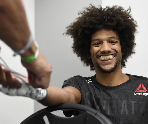Alex Caceres has his hands wrapped backstage during the UFC 250 event at UFC APEX on June 06, 2020 in Las Vegas, Nevada. (Photo by Mike Roach/Zuffa LLC)