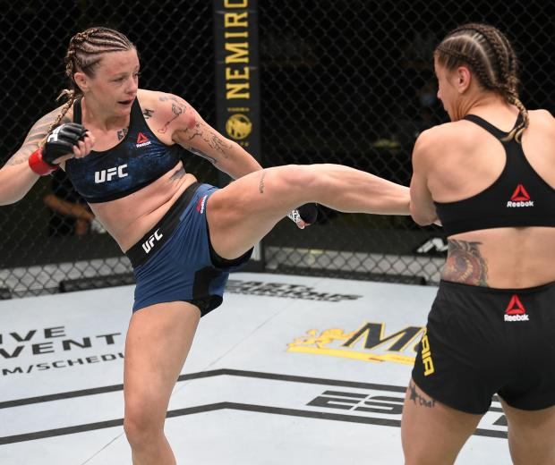 Joanne Calderwood of Scotland kicks Jennifer Maia of Brazil in their flyweight fight during the UFC Fight Night event at UFC APEX on August 01, 2020 in Las Vegas, Nevada. (Photo by Chris Unger/Zuffa LLC)