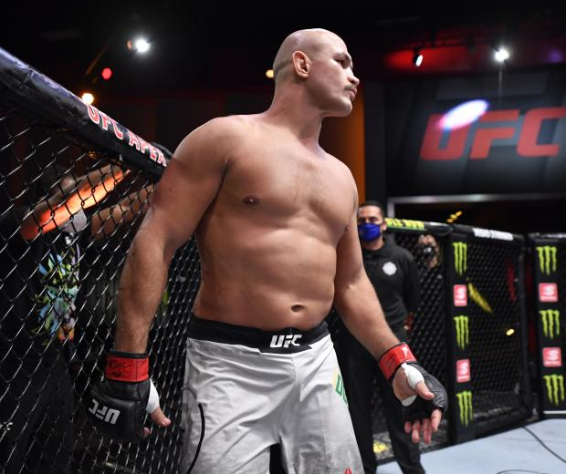 Junior Dos Santos of Brazil prepares to fight Jairzinho Rozenstruik in their heavyweight bout during the UFC 252 event at UFC APEX on August 15, 2020 in Las Vegas, Nevada. (Photo by Jeff Bottari/Zuffa LLC)
