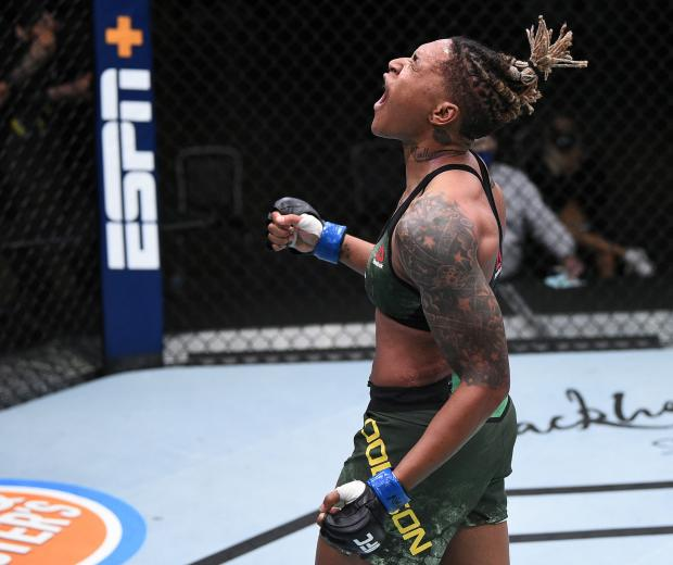 Shana Dobson reacts after her TKO victory over Mariya Agapova of Kazakhstan in their flyweight fight during the UFC Fight Night event at UFC APEX on August 22, 2020 in Las Vegas, Nevada. (Photo by Chris Unger/Zuffa LLC)
