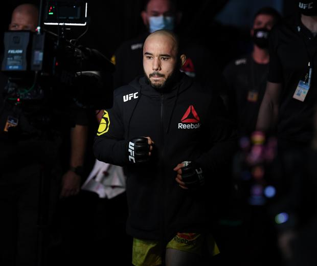 Marlon Moraes of Brazil walks to the Octagon prior to his bantamweight bout against Cory Sandhagen during the UFC Fight Night event inside Flash Forum on UFC Fight Island on October 11, 2020 in Abu Dhabi, United Arab Emirates. (Photo by Josh Hedges/Zuffa LLC)