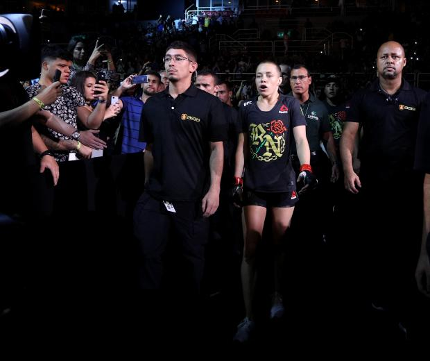 Rose Namajunas prepares to fight Jessica Andrade of Brazil in their women's strawweight championship bout during the UFC 237 event at Jeunesse Arena on May 11, 2019 in Rio De Janeiro, Brazil. (Photo by Buda Mendes/Zuffa LLC/Zuffa LLC)