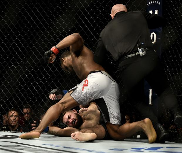 Geoff Neal punches Mike Perry in their welterweight bout during the UFC 245 event at T-Mobile Arena on December 14, 2019 in Las Vegas, Nevada. (Photo by Chris Unger/Zuffa LLC)