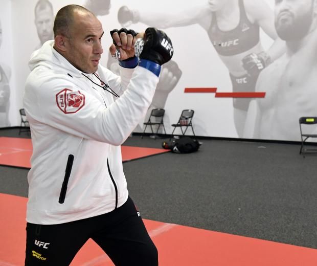 Aleksei Oleinik of Russia warms up prior to his fight during the UFC Fight Night event at UFC APEX on August 08, 2020 in Las Vegas, Nevada. (Photo by Mike Roach/Zuffa LLC)