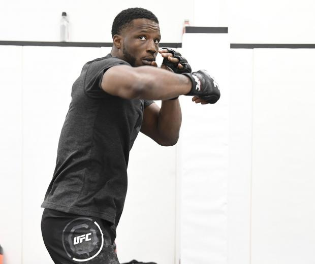 Karl Roberson warms up backstage during the UFC Fight Night event at UFC APEX on June 13, 2020 in Las Vegas, Nevada. (Photo by Mike Roach/Zuffa LLC)