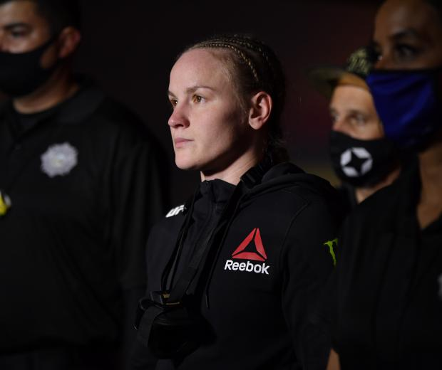 Valentina Shevchenko of Kyrgyzstan prepares to enter the Octagon prior to her women's flyweight championship bout against Jennifer Maia of Brazil during the UFC 255 event at UFC APEX on November 21, 2020 in Las Vegas, Nevada. (Photo by Jeff Bottari/Zuffa LLC)