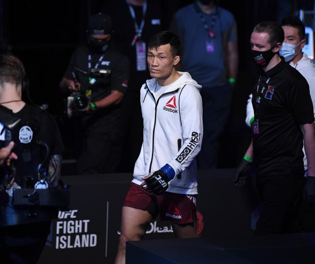 'The Korean Zombie' Chan Sung Jung prepares to enter the Octagon prior to his featherweight bout against Brian Ortega during the UFC Fight Night event inside Flash Forum on UFC Fight Island on October 18, 2020 in Abu Dhabi, United Arab Emirates. (Photo by Josh Hedges/Zuffa LLC)