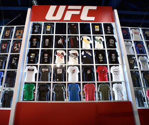 A wall of UFC branded T-shirts are displayed at the UFC Fan Expo at the Las Vegas Convention Center on July 8, 2016 in Las Vegas, Nevada. (Photo by David Becker/Zuffa LLC). Shop UFC gear at ufcstore.com. UFC T-Shirt UFC Sweatshirt UFC Hoodie UFC Poster UFC Gear UFC Clothes