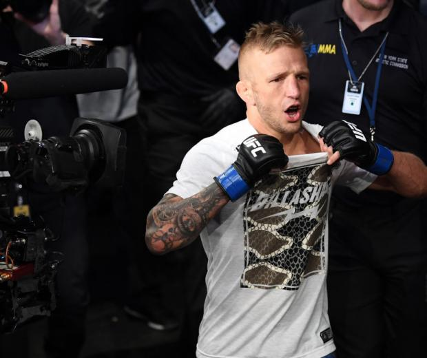 NEW YORK, NY - JANUARY 19: TJ Dillashaw prepares to enter the Octagon prior to his flyweight bout against Henry Cejudo during the UFC Fight Night event at the Barclays Center on January 19, 2019 in the Brooklyn borough of New York City. (Photo by Josh Hedges/Zuffa LLC)