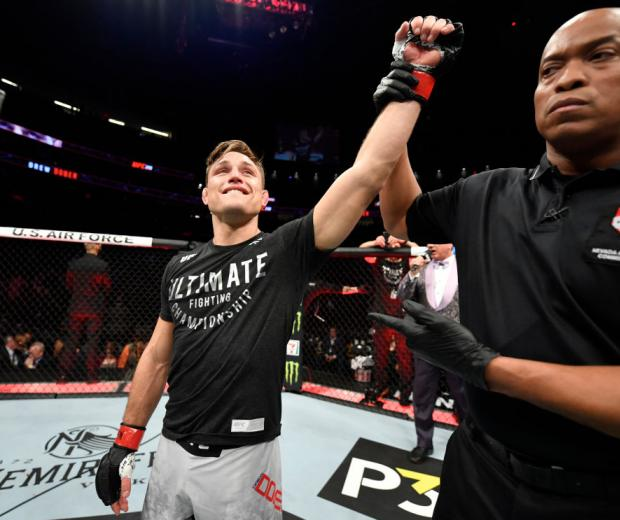 LAS VEGAS, NEVADA - JANUARY 18: Drew Dober celebrates the win in his lightweight fight during the UFC 246 event at T-Mobile Arena on January 18, 2020 in Las Vegas, Nevada. (Photo by Jeff Bottari/Zuffa LLC)