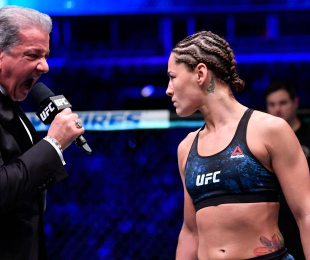 Octagon announcer Bruce Buffer introduces Jessica Eye prior to her women's flyweight championship bout against Valentina Shevchenko of Kyrgyzstan during the UFC 238 event at the United Center on June 8, 2019 in Chicago, Illinois. (Photo by Jeff Bottari/Zuffa LLC)