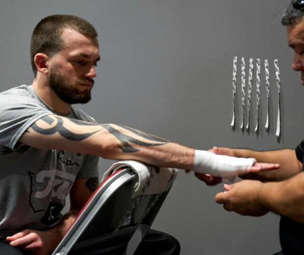 Austin Lingo has his hands wrapped backstage during the UFC 247 event at Toyota Center on February 08, 2020 in Houston, Texas. (Photo by Cooper Neill/Zuffa LLC via Getty Images)