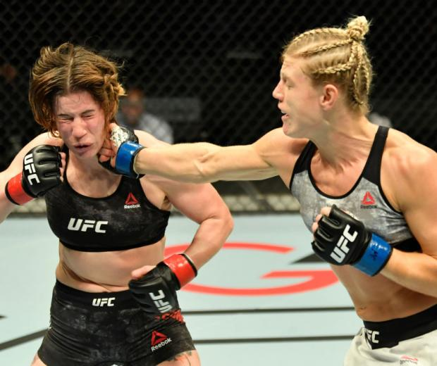 Manon Fiorot of France punches Victoria Leonardo in a flyweight fight during the UFC Fight Night event at Etihad Arena on UFC Fight Island on January 20, 2021 in Abu Dhabi, United Arab Emirates. (Photo by Jeff Bottari/Zuffa LLC)