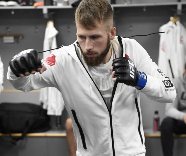Jacob Kilburn warms up backstage during the UFC Fight Night event at Capital One Arena on December 07, 2019 in Washington, DC. (Photo by Mike Roach/Zuffa LLC)