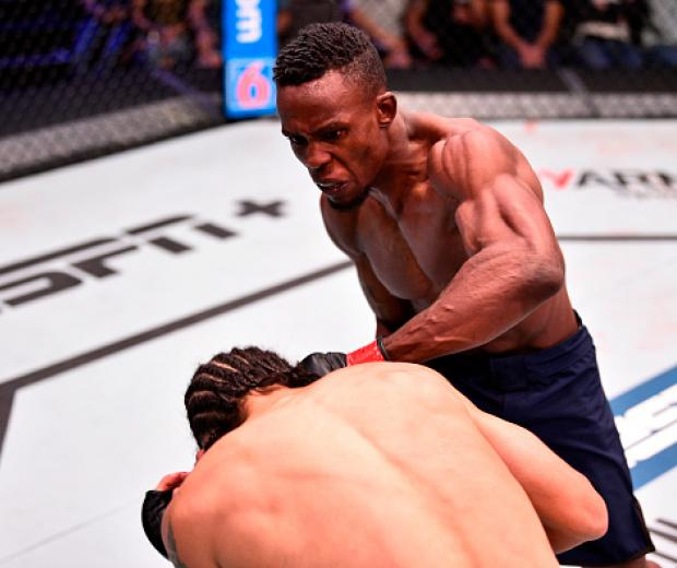 de Osbourne of Jamaica punches Armando Villarreal in their bantamweight bout during Dana White's Contender Series at the UFC Apex on July 16, 2019 in Las Vegas, Nevada. (Photo by Chris Unger/DWCS LLC)