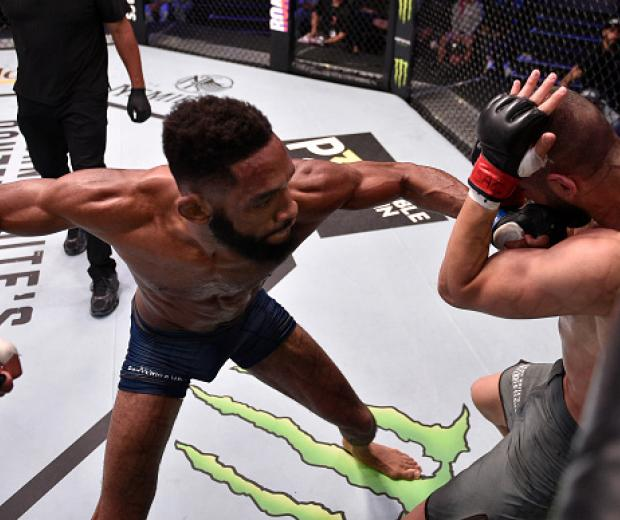 Phil Rowe punches Leon Shahbazyan in their welterweight fight during Dana White's Contender Series season three week nine at the UFC Apex on August 20, 2019 in Las Vegas, Nevada. (Photo by Chris Unger/DWCS LLC/Zuffa LLC)