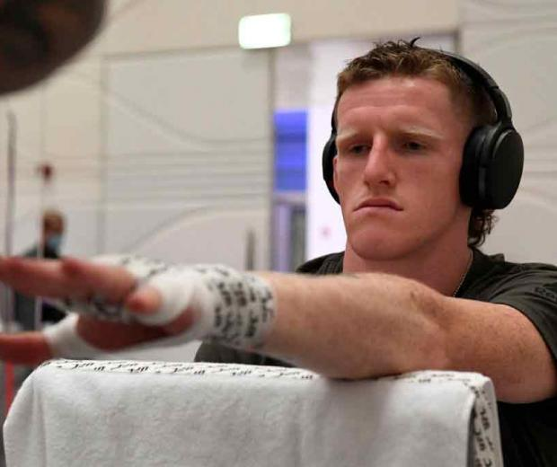 Jamie Mullarkey of Australia has his hands wrapped backstage during the UFC Fight Night event inside Flash Forum on UFC Fight Island on October 18, 2020 in Abu Dhabi, United Arab Emirates. (Photo by Mike Roach/Zuffa LLC)