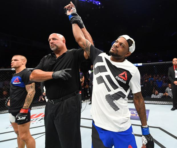 Michael Johnson celebrates his knockout victory over Dustin Poirier in their lightweight bout during the UFC Fight Night event at State Farm Arena on September 17, 2016 in Hidalgo, Texas. (Photo by Josh Hedges/Zuffa LLC)