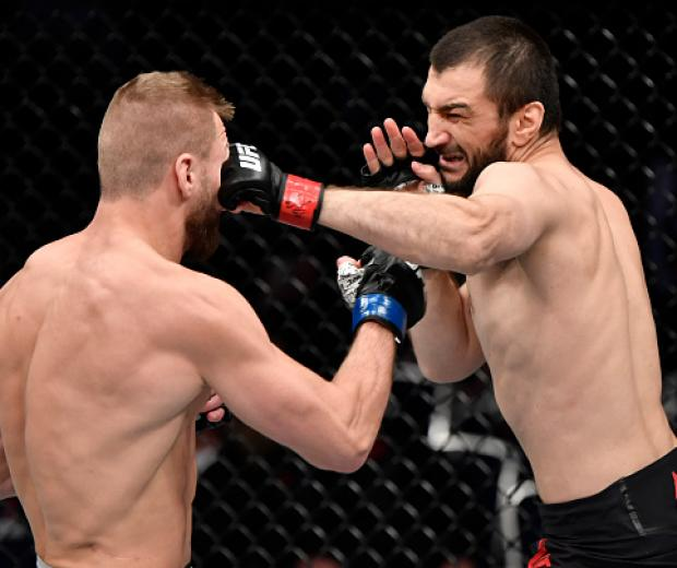 Abubakar Nurmagomedov of Russia punches David Zawada of Germany in their welterweight bout during the UFC Fight Night event at CSKA Arena on November 09, 2019 in Moscow, Russia. (Photo by Jeff Bottari/Zuffa LLC)