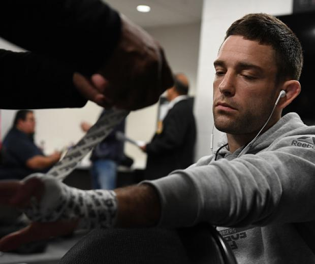 Ryan Hall has his hands wrapped prior to his bout during the UFC Fight Night event at Golden 1 Center on July 13, 2019 in Sacramento, California. (Photo by Mike Roach/Zuffa LLC)