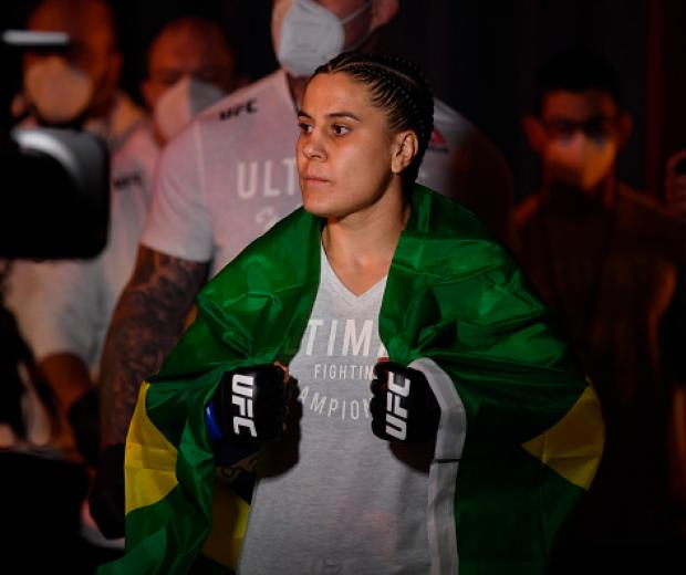 Jennifer Maia of Brazil walks to the Octagon prior to her women's flyweight championship bout against Valentina Shevchenko of Kyrgyzstan during the UFC 255 event at UFC APEX on November 21, 2020 in Las Vegas, Nevada. (Photo by Jeff Bottari/Zuffa LLC)