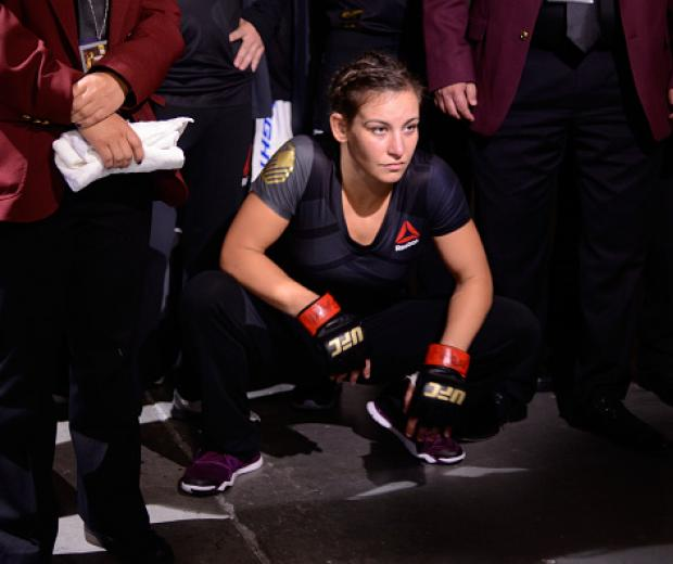 Miesha Tate walks to the Octagon to face Amanda Nunes of Brazil during the UFC 200 event on July 9, 2016 at T-Mobile Arena in Las Vegas, Nevada. (Photo by Todd Lussier/Zuffa LLC)