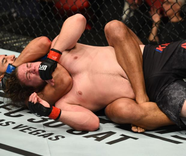 DETROIT, MI - DECEMBER 02: (L-R) Dominick Reyes submits Jeremy Kimball in their light heavyweight bout during the UFC 218 event inside Little Caesars Arena on December 02, 2017 in Detroit, Michigan. (Photo by Josh Hedges/Zuffa LLC/Zuffa LLC via Getty Images)