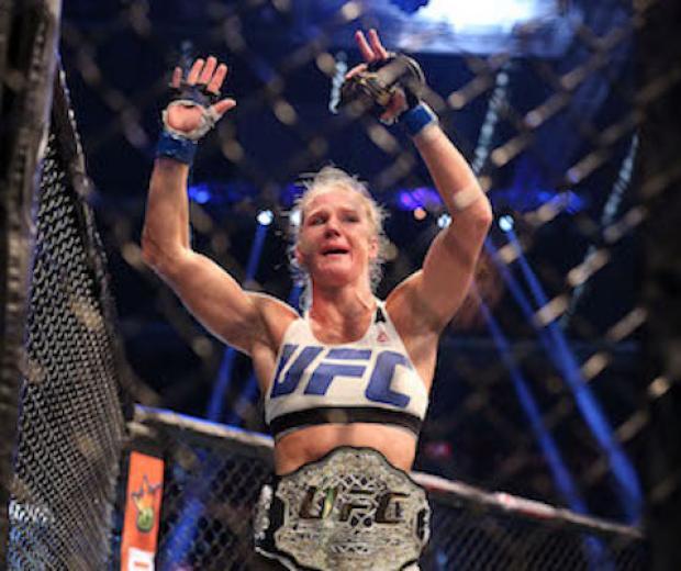 New UFC women's bantamweight champion Holly Holm of the United States celebrates her victory over Ronda Rousey of the United States during the UFC 193 event at Etihad Stadium on November 15, 2015 in Melbourne, Australia. (Photo by Brandon Magnus/Zuffa LLC)