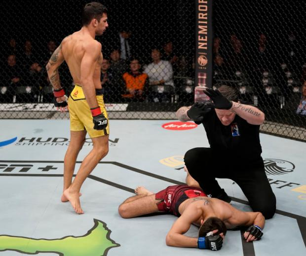 Alexandre Pantoja of Brazil celebrates after knocking out Matt Schnell in their flyweight fight during the UFC Fight Night