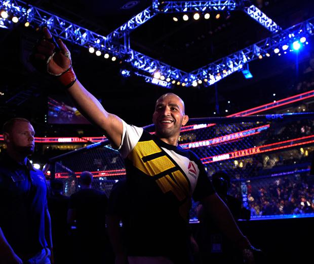 Glover Teixeira celebrates his knockout victory over Rashad Evans in their light heavyweight bout during the UFC Fight Night event at Amalie Arena on April 16, 2016 in Tampa, Florida. (Photo by Jeff Bottari/Zuffa LLC)