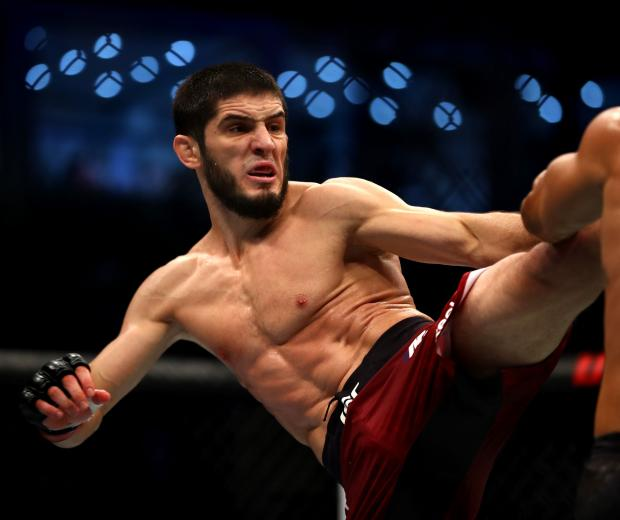 Islam Makhachev of Russia compete against Davi Ramos of Brazil in their Lightweight Bout during the UFC 242 event at The Arena on September 07, 2019 in Abu Dhabi, United Arab Emirates. (Photo by Francois Nel/Getty Images)