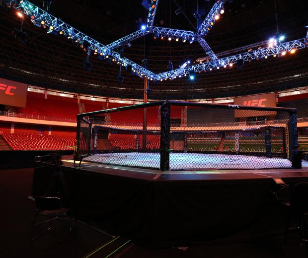 A general view of the Octagon prior to the UFC Fight Night event on March 14, 2020 in Brasilia, Brazil. (Photo by Buda Mendes/Zuffa LLC)