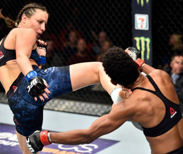 NORFOLK, VA - NOVEMBER 11:  (L-R) Nina Ansaroff kicks Angela Hill in their women's strawweight bout during the UFC Fight Night event inside the Ted Constant Convention Center on November 11, 2017 in Norfolk, Virginia. (Photo by Brandon Magnus/Zuffa LLC/Zu
