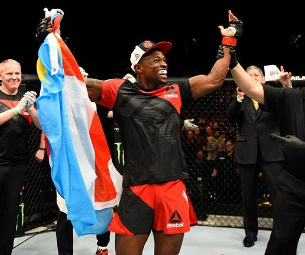 LONDON, ENGLAND - MARCH 18:  Marc Diakiese of the Congo celebrates his knockout victory over Teemu Packalen of Finland in their lightweight fight during the UFC Fight Night event at The O2 arena on March 18, 2017 in London, England. (Photo by Josh Hedges/