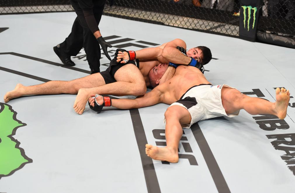 ORLANDO, FL - DECEMBER 19: Vicente Luque submits Hayder Hassan in their welterweight bout during the UFC Fight Night event at the Amway Center on December 19, 2015 in Orlando, Florida. (Photo by Josh Hedges/Zuffa LLC/Zuffa LLC via Getty Images)