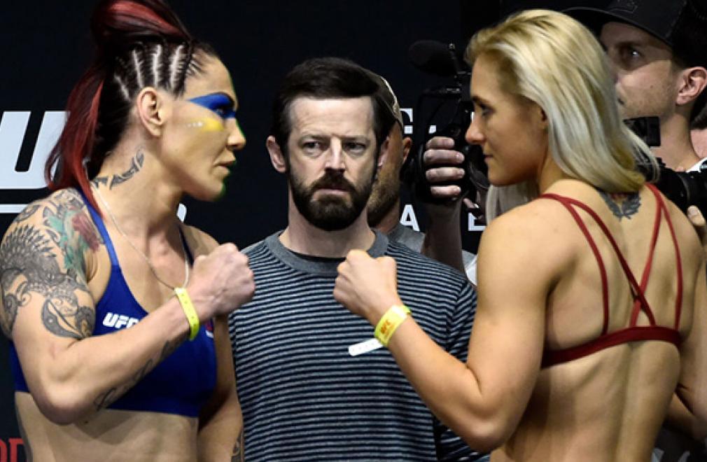 LAS VEGAS, NV - MARCH 02:   (L-R) Cris Cyborg of Brazil and Yana Kunitskaya of Russia face off during a UFC 222 weigh-in on March 2, 2018 in Las Vegas, Nevada. (Photo by Jeff Bottari/Zuffa LLC/Zuffa LLC via Getty Images)