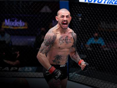 Cub Swanson celebrates his KO victory over Daniel Pineda in their featherweight bout during the UFC 256 event at UFC APEX on December 12, 2020 in Las Vegas, Nevada. (Photo by Jeff Bottari/Zuffa LLC)