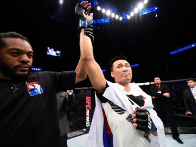 HOUSTON, TX - FEBRUARY 04: Chan Sung Jung of South Korea celebrates his victory over Dennis Bermudez in their featherweight bout during the UFC Fight Night event at the Toyota Center on February 4, 2017 in Houston, Texas. (Photo by Jeff Bottari/Zuffa LLC/Zuffa LLC via Getty Images)