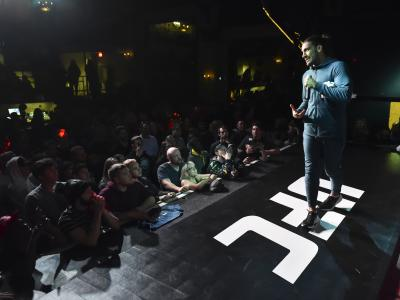 OTTAWA, ON - MAY 01: Elias Theodorou speaks to fans and media during the UFC Fight Night Open Workouts event at Barrymores Music Hall on May 1, 2019 in Ottawa, Ontario, Canada. (Photo by Minas Panagiotakis/Zuffa LLC/Zuffa LLC via Getty Images)