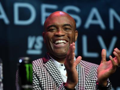 MELBOURNE, AUSTRALIA - FEBRUARY 8: Former middleweight champion Anderson Silva of Brazil speaks to the media during the UFC 234 Press Conference inside The Palms at Crown on February 8, 2019 in Melbourne, Australia. (Photo by Jeff Bottari/Zuffa LLC/Zuffa LLC via Getty Images)