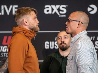 STOCKHOLM, SWEDEN - MAY 30: (L-R) Alexander Gustafsson of Sweden and Anthony Smith face off for the media during the UFC Fight Night Ultimate Media Day at Ericsson Globe Arena on May 30, 2019 in Stockholm, Sweden. (Photo by Jeff Bottari/Zuffa LLC/Zuffa LLC via Getty Images)